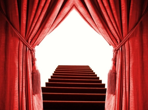 the red curtain and the stairs highdefinition picture