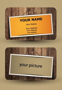 the retro wooden cards 01 vector