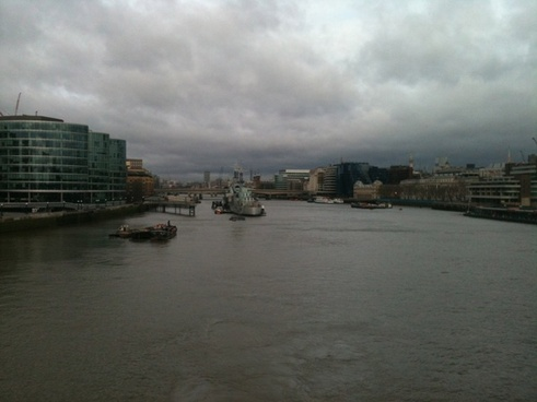 the river thames on a cloudy day