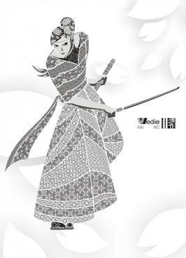 the sakura samurai decorated vector pattern