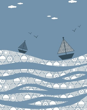 the sea boat decorative painting vector