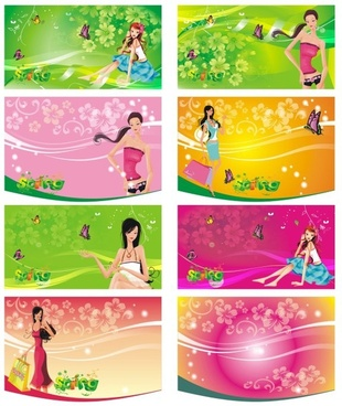 the shopping women supermarkets tag vector