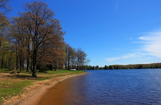 the shoreline the other way at twin lakes state park michigan
