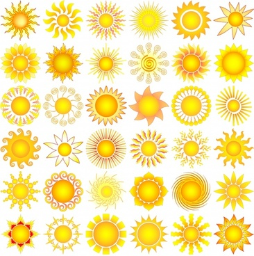 sun icons collection modern bright flat shapes