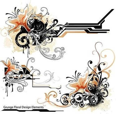 grunge floral design elements retro curves style