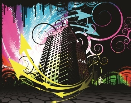 high building theme dark colorful curved arrows background