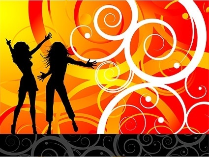 the trend of female characters silhouette vector party