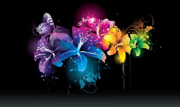 nature background flowers butterflies decor dark sparkling colors
