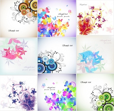 card templates colorful botany decor