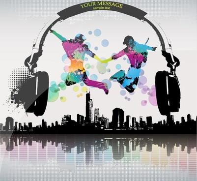 music banner dynamic dancers headphone city silhouettes decor