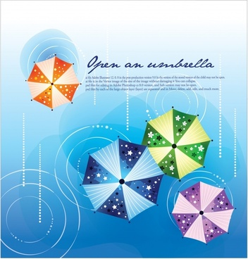 decorative background template colorful umbrellas flat sketch