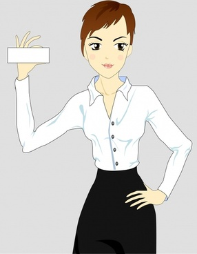office woman icon cartoon character modern design