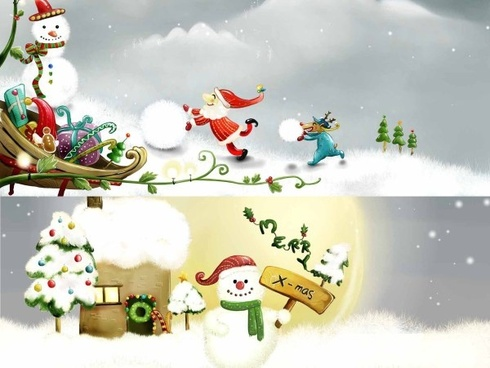 the two christmas snowman illustrator psd layered