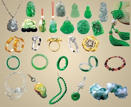 the various jade ornaments jewelry psd summary