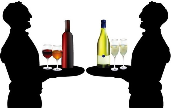 the waiter holding drinks silhouette vector
