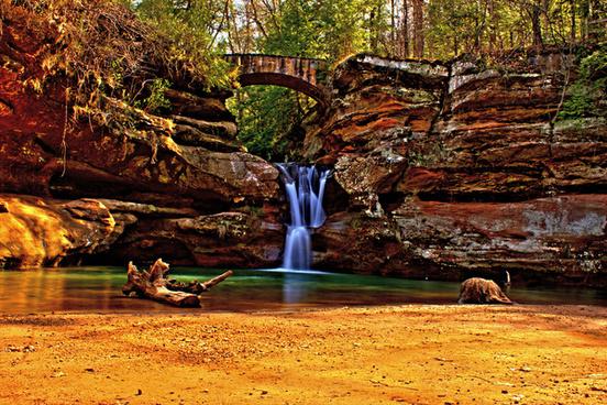 the waterfall and the bridge