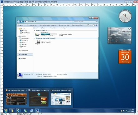 the windows7 psd interface hierarchical file