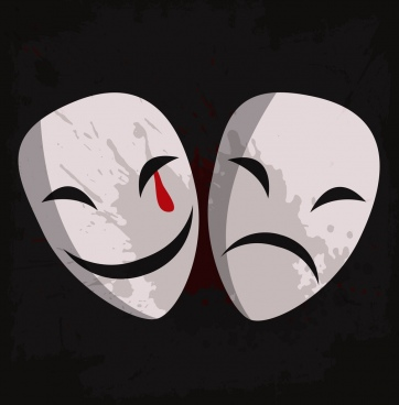 theater sign icons smile sad facial masks design