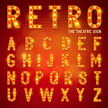 theatre neon light alphabet vector