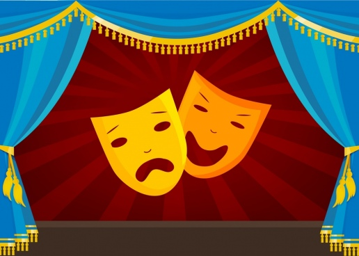 theatre stage design classical style curtain mask icons