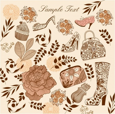 fashion accessories design elements classical flora pattern