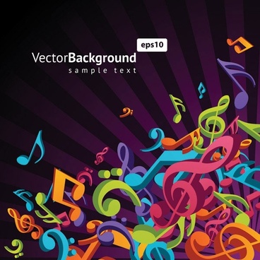 theme music notes vector 3