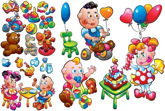 theme of children toys vector