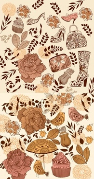 theme of female flower pattern vector