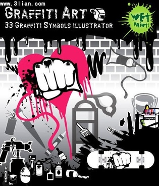graffiti art banner painting tools design elements decor