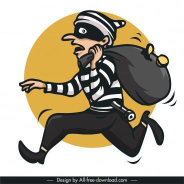 thief icon dynamic cartoon character sketch