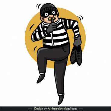 thief prisoner icon dynamic cartoon sketch