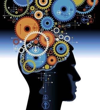 thinking brain image 01 vector