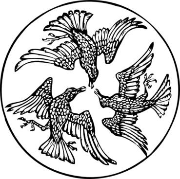 Three Birds In A Circle clip art
