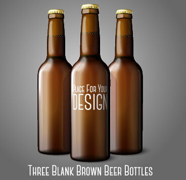 three blank brown beer bottles vector