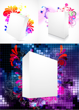 three dimensional box flower background 2 vector