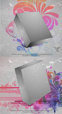 three dimensional box flower background 3 vector