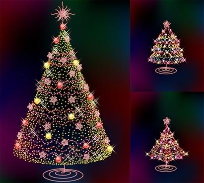 three glittering christmas tree vector