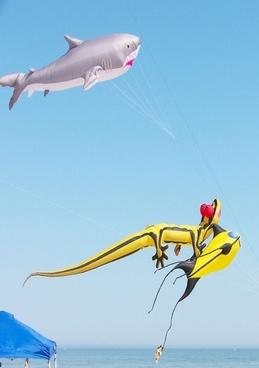 three huge kites