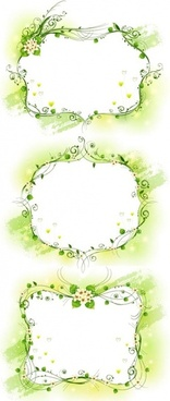 three kinds of elegant yellowgreen decorative box vector
