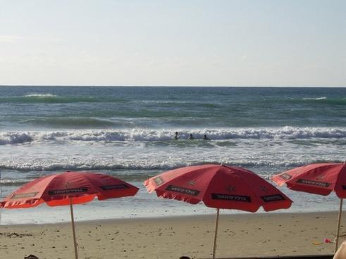 three red umbrellas