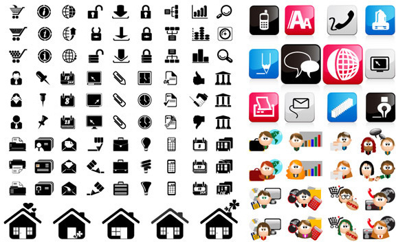 three sets of icon vector