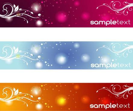 three swirly banners