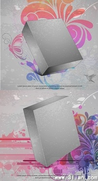 advertising background 3d box icon classical flora decor