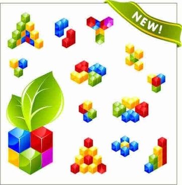 cubes icons colorful modern 3d design