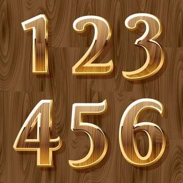 number background shiny wooden decor