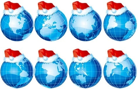 Threedimensional earth and christmas hats vector