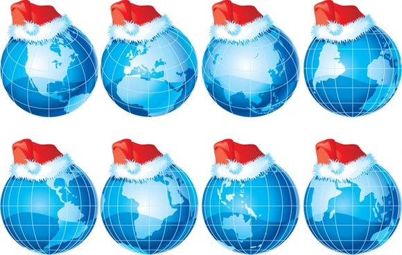 threedimensional earth with christmas hats vector