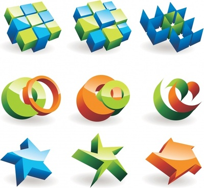 logo design elements shiny modern colorful 3d shapes