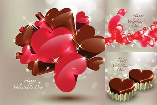 valentines backgrounds modern sparkling 3d heart shapes decor