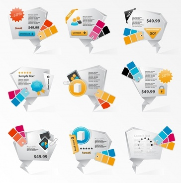 sales tags templates colorful 3d contemporary origami shapes